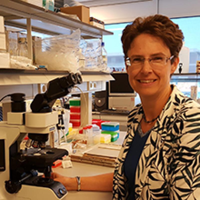 Onderzoeker Karin de Visser in het laboratorium.