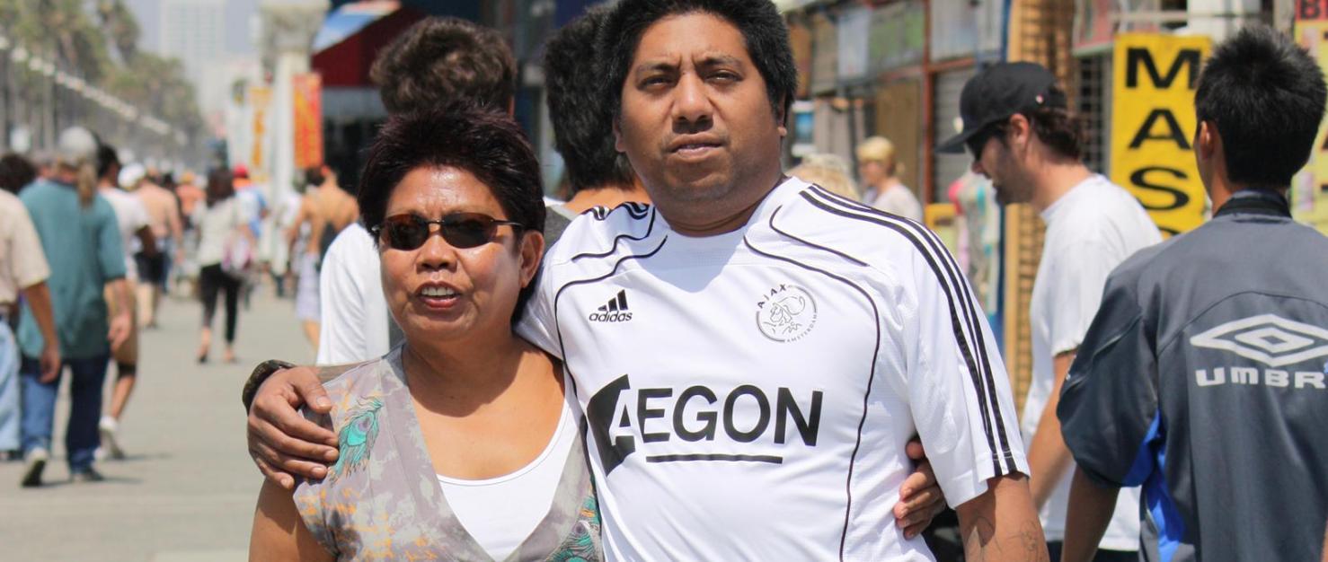 Steve met zijn moeder